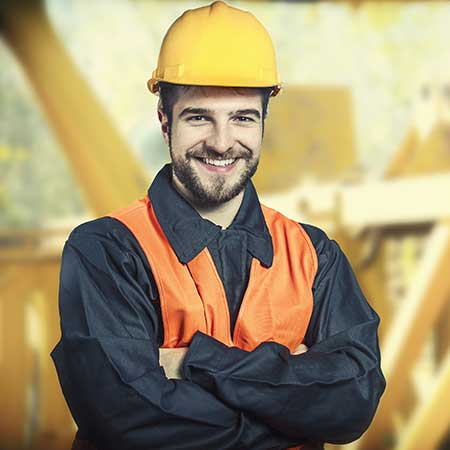 Young adult in construction outfit job seeker